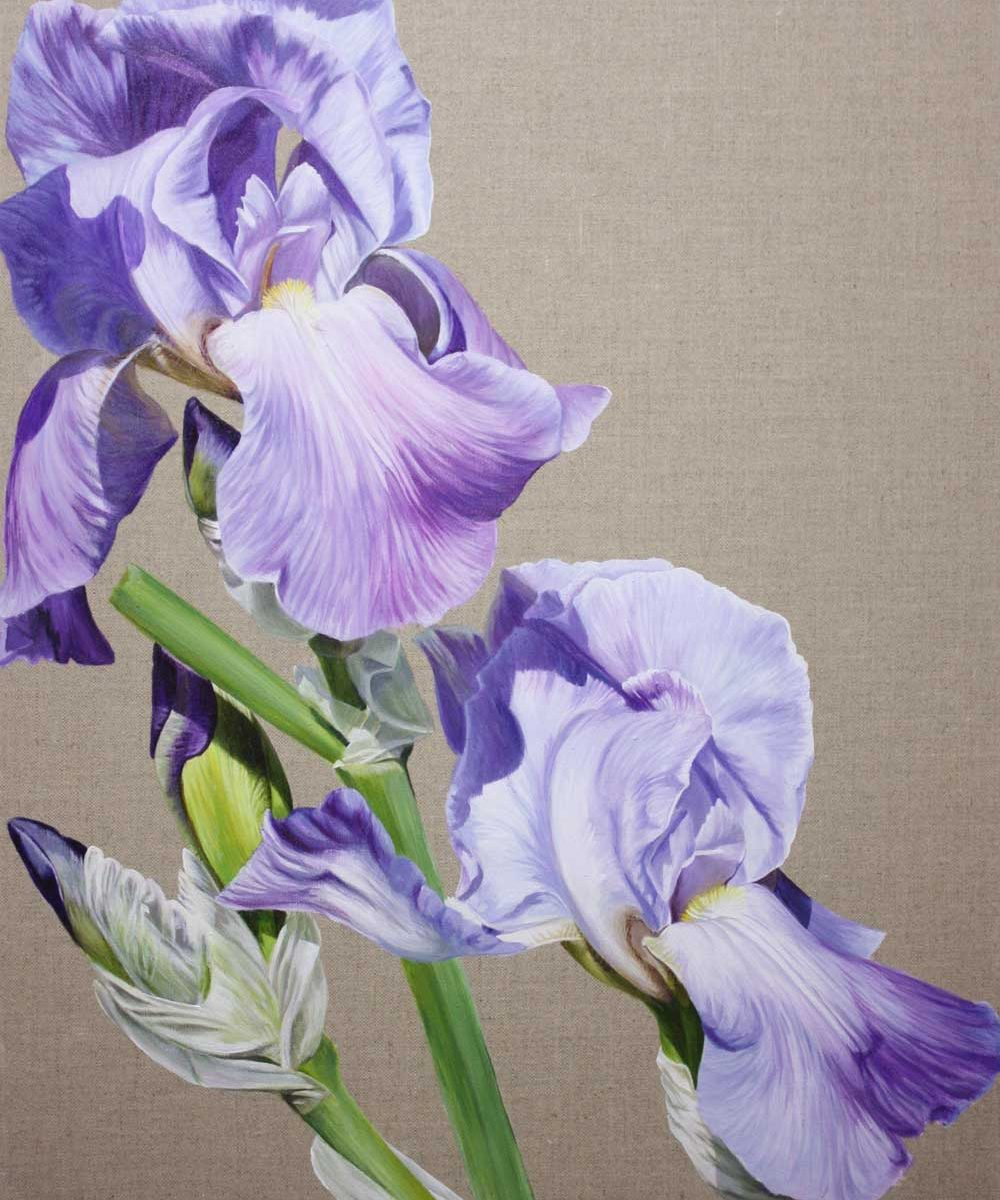 Higher (Rise Up) flower painting by Sarah Caswell