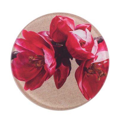 Red japonica bush glass coaster