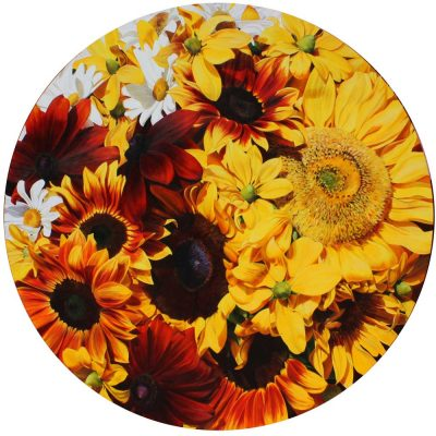 The Sun, painting of Sunflowers on circular canvas by Sarah Caswell