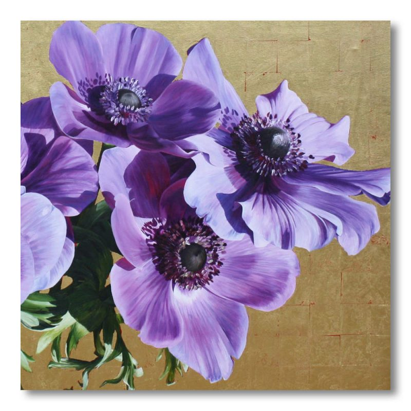 Purple anemones on gold background painting by Sarah Caswell