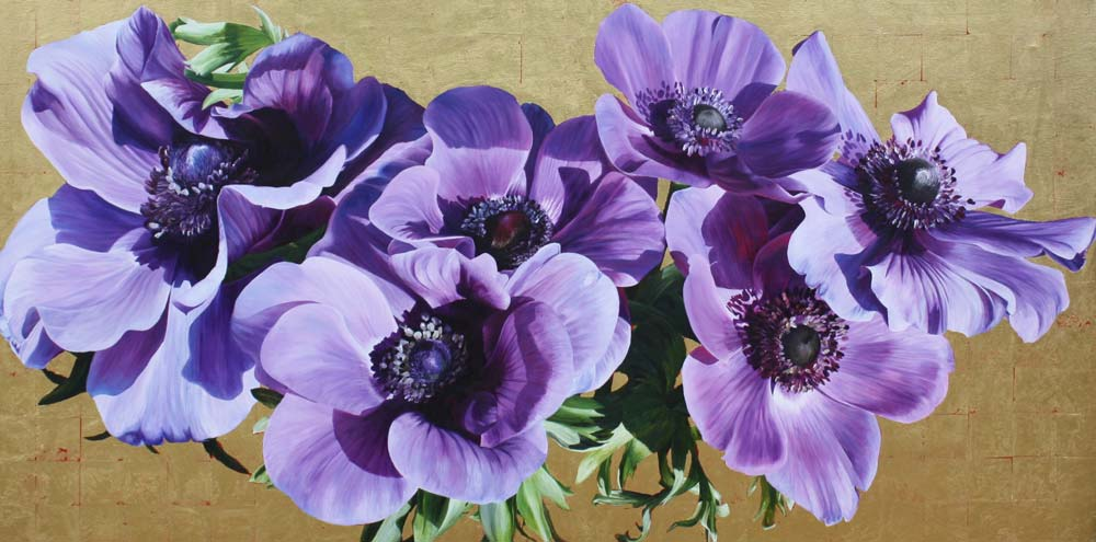 Purple anemones on gold background painting by UK floral artist Sarah Caswell