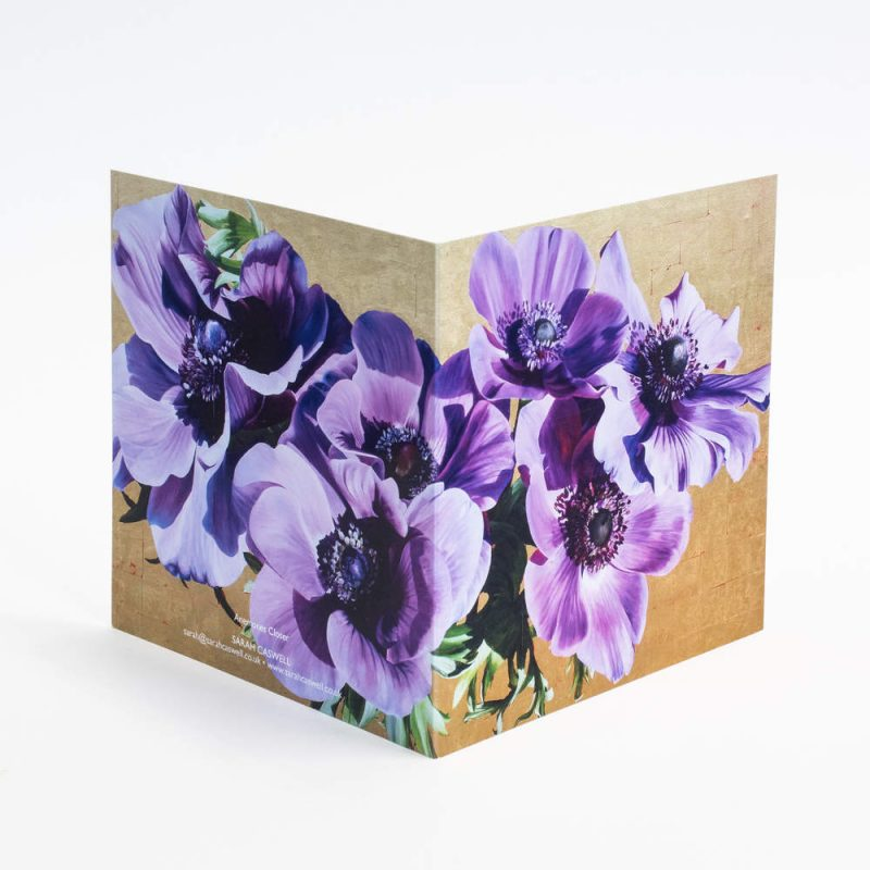 Purple anemones on gold background painting by Sarah Caswell open card