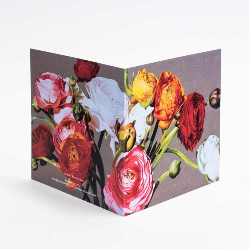 Multi-coloured ranunculus on linen painting by Sarah Caswell open card