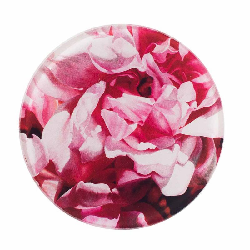 Pink Albertine roses painting by Sarah Caswell glass coaster