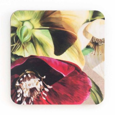 Green and burgundy hellebores on linen painting by Sarah Caswell melamine coaster