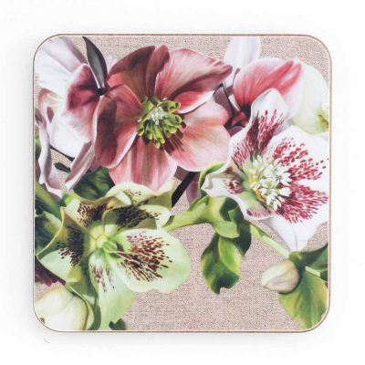 Pink, green and spotted hellebores on linen painting by Sarah Caswell melamine coaster