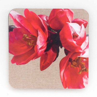 Red japonica chaenomeles on linen painting by Sarah Caswell melamine coaster