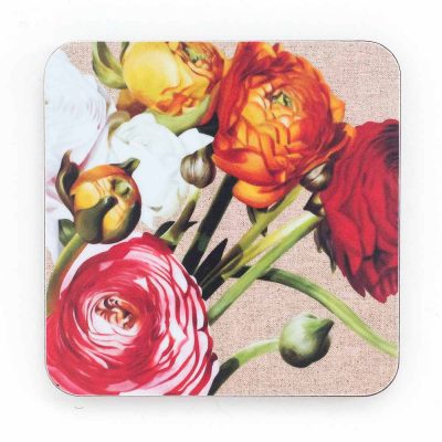 multi-coloured ranunculus on linen painting by Sarah Caswell melamine coaster