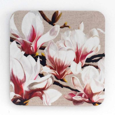 White and pink on linen painting by Sarah Caswell melamine coaster