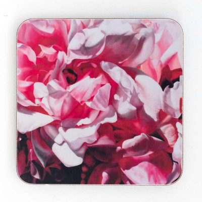Albertine roses painting by Sarah Caswell melamine coaster