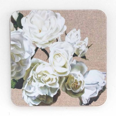 White iceberg roses on linen painting by Sarah Caswell melamine coaster