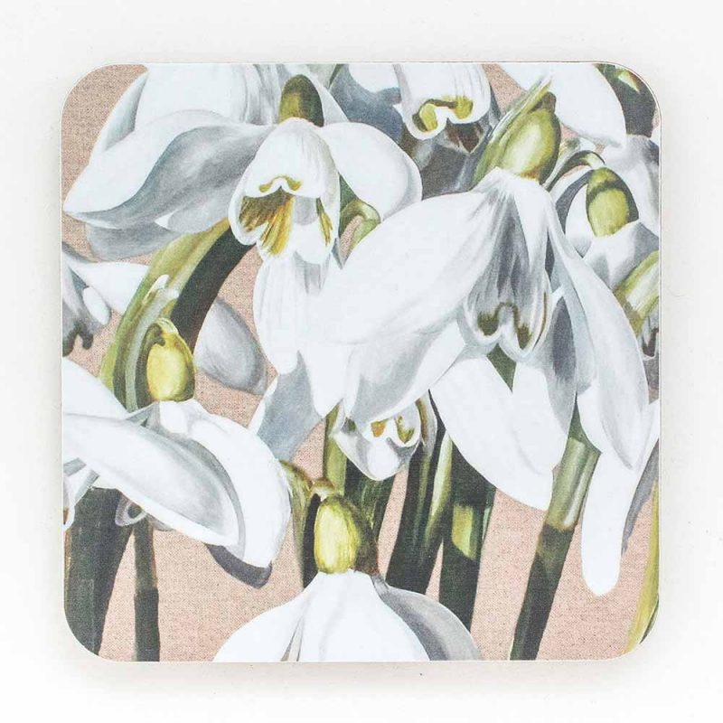 white and green snowdrops galanthus on linen painting by Sarah Caswell melamine coaster