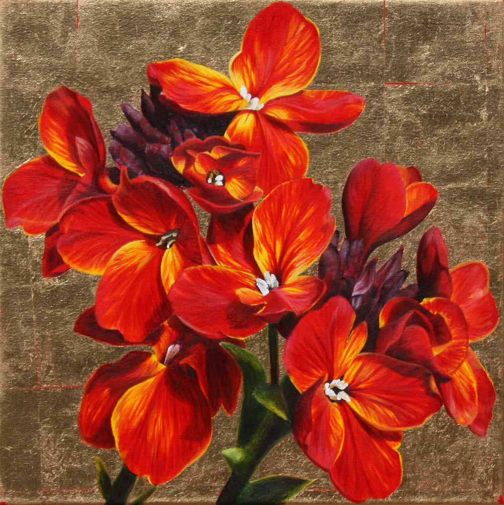 Yellow and red wallflowers on gold background painting by UK floral artist Sarah Caswell
