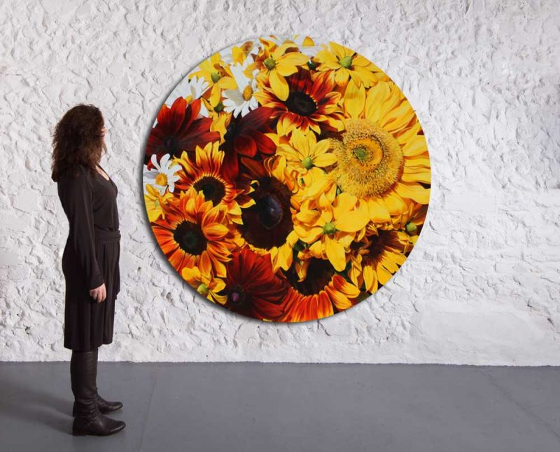 'The Sun' by Sarah Caswell. Acrylic on cotton canvas, 150cm diameter tondo. Depicted in a gallery setting.