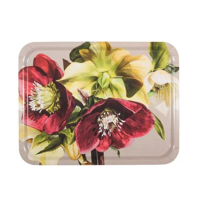 Burgundy and green hellebores painting on linen by Sarah Caswell birchwood tray