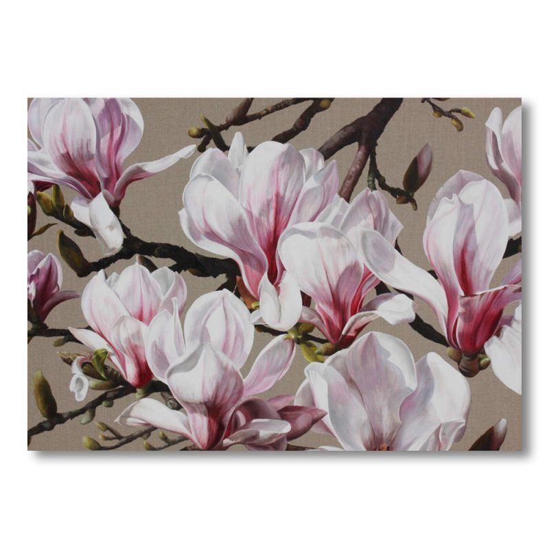 White and pink magnolia on linen painting by Sarah Caswell