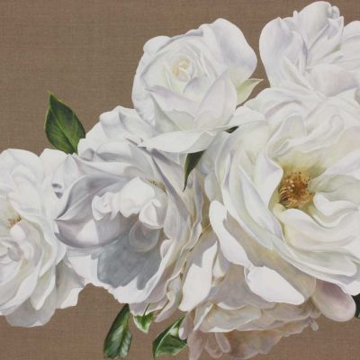 White iceberg roses on linen background painting by UK floral artist Sarah Caswell