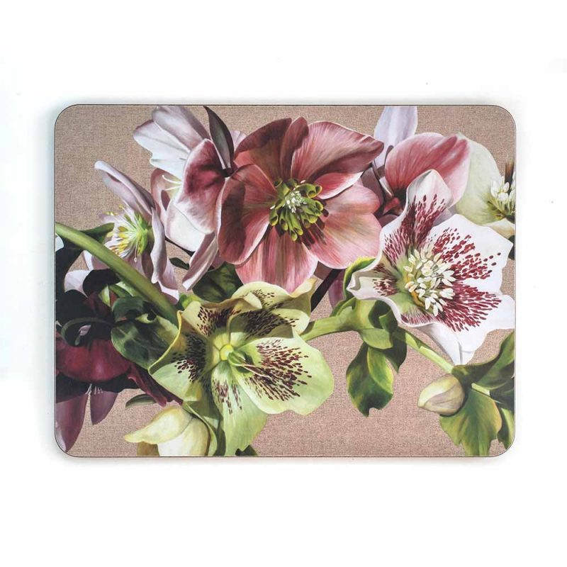 Pink, green and spotted white hellebores on linen painting by Sarah Caswell melamine tablemat