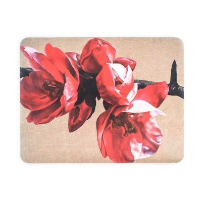 Red japonica chaenomeles on linen painting by Sarah Caswell melamine tablemat