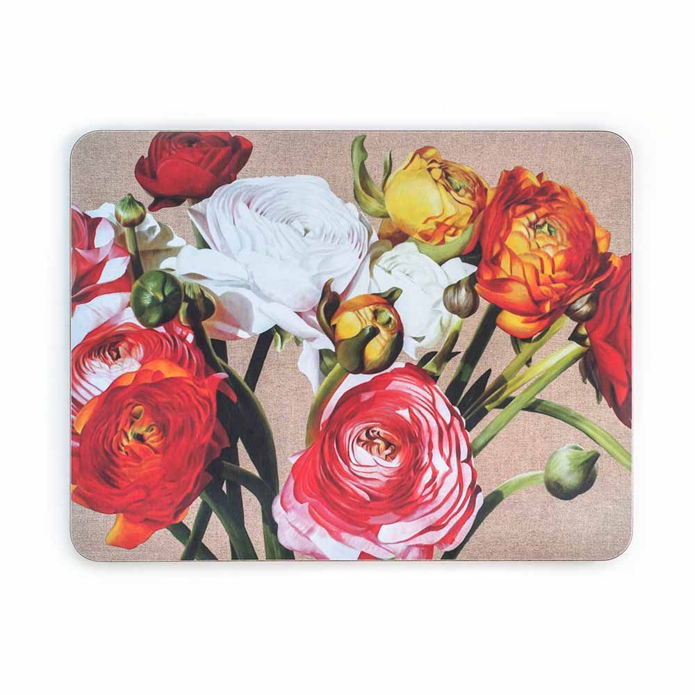 Multi-coloured ranunculus on linen painting by Sarah Caswell melamine tablemat