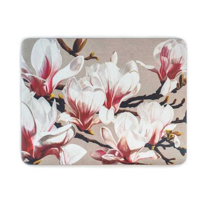 Pink and white magnolia on linen painting by Sarah Caswell melamine tablemat