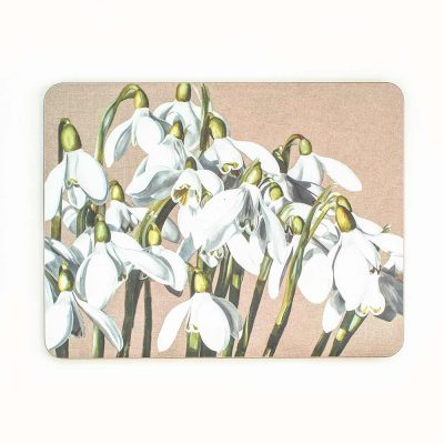 White and green snowdrop galanthus on linen painting by Sarah Caswell melamine tablemat