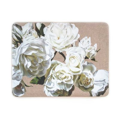 White iceberg roses on linen painting by Sarah Caswell melamine tablemat