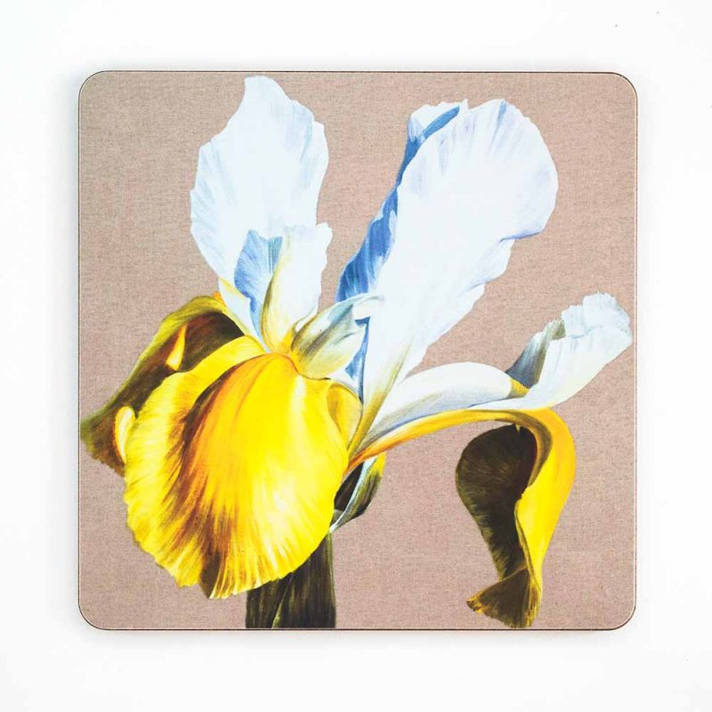 White and yellow dutch iris on linen painting by Sarah Caswell melamine tablemat or coaster