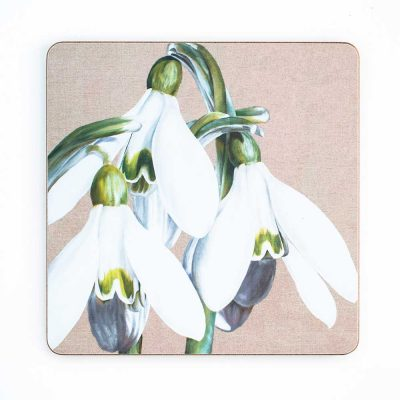White and green snowdrops galanthus on linen painting by Sarah Caswell melamine tablemat or coaster