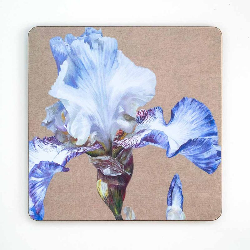 Blue and white iris on linen painting by Sarah Caswell melamine tablemat or coaster