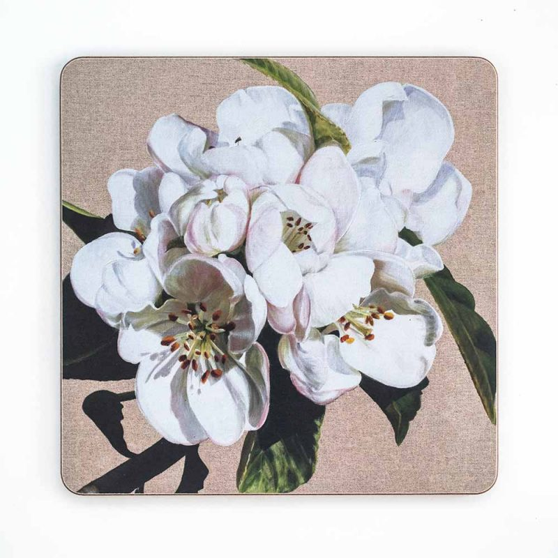 White apple blossom on linen painting by Sarah Caswell melamine tablemat or coaster