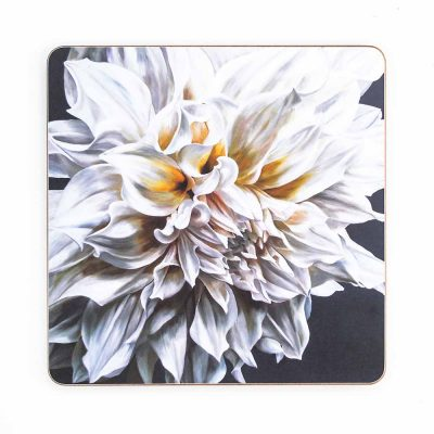White Cafe au Lait dahlia painting by Sarah Caswell melamine tablemat or coaster