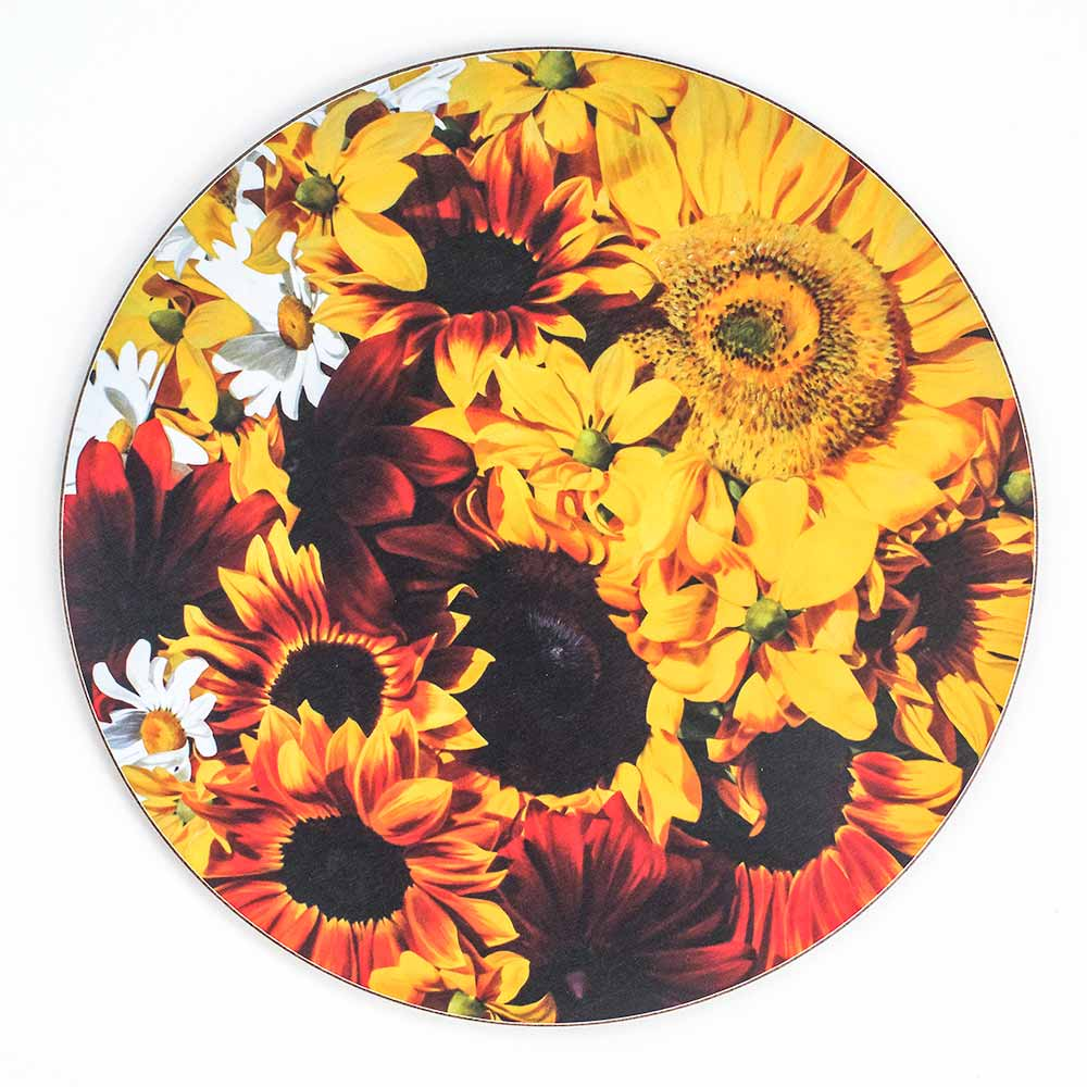 Yellow and toffee sunflowers painting by Sarah Caswell melamine tablemat or coaster