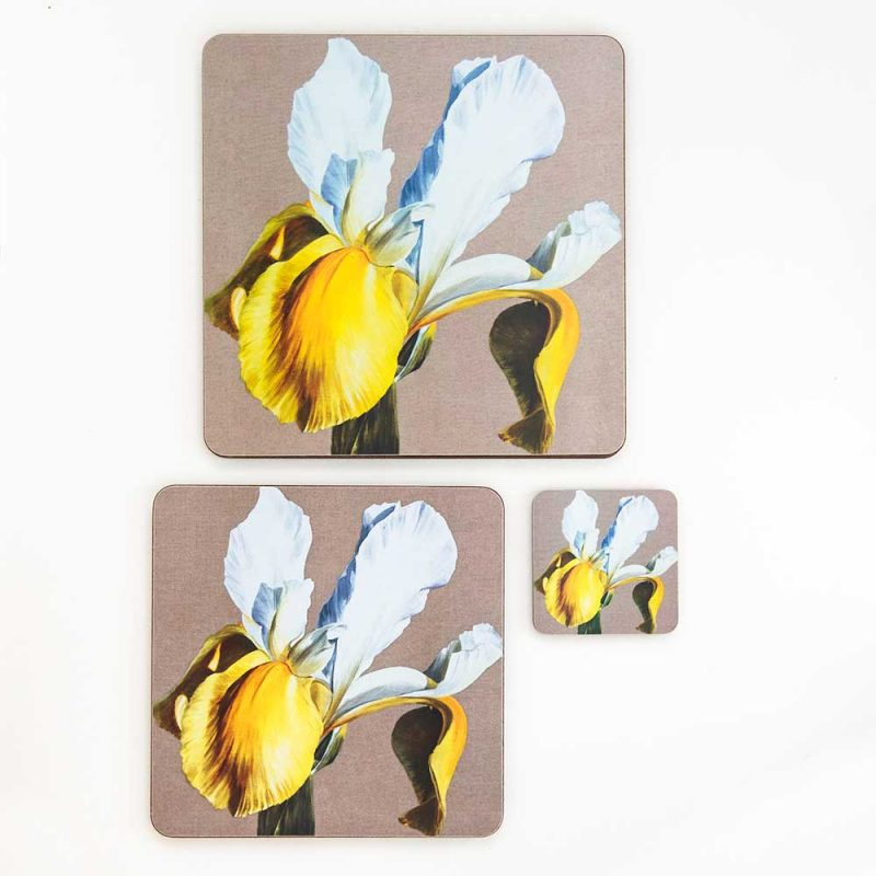 Yellow and white dutch iris on linen painting by Sarah Caswell melamine tablemat and coaster range