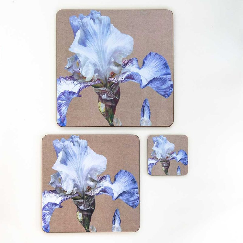 Blue and white iris on linen painting by Sarah Caswell melamine tablemat and coaster range