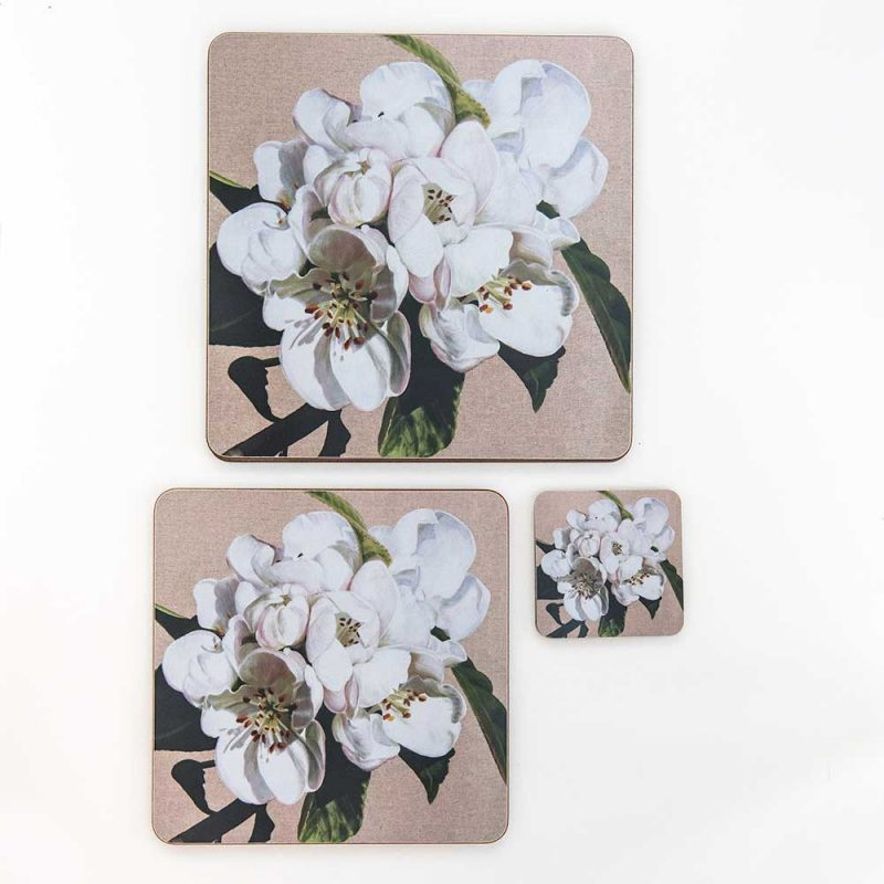 White apple blossom on linen painting by Sarah Caswell melamine tablemat and coaster range