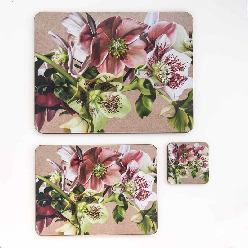 Pink, green and spotted white hellebores on linen painting by Sarah Caswell melamine tablemat and coaster range
