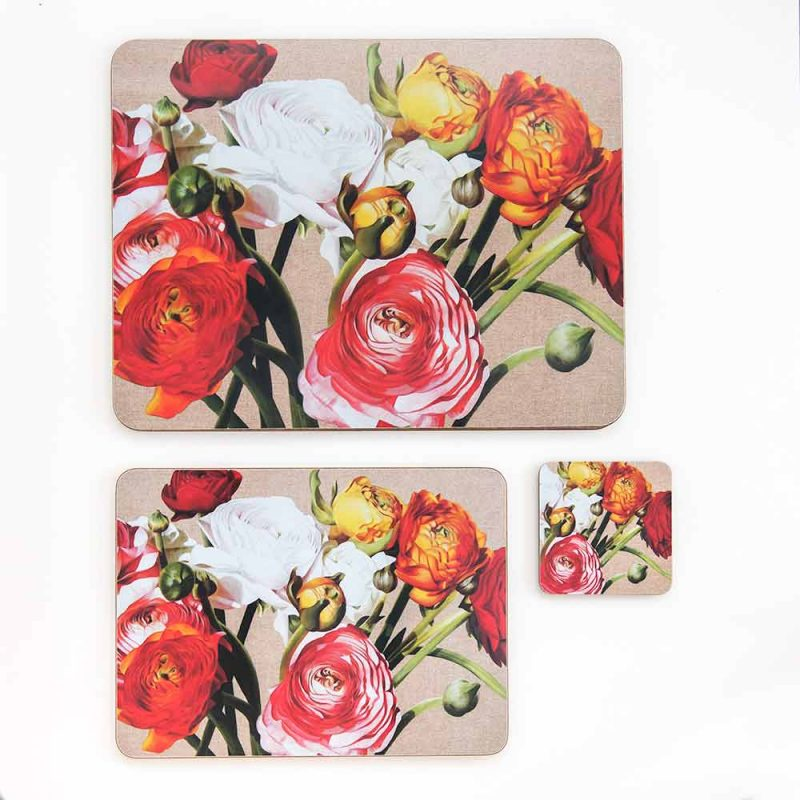 Multi-coloured ranunculus on linen painting by Sarah Caswell melamine tablemat and coaster range