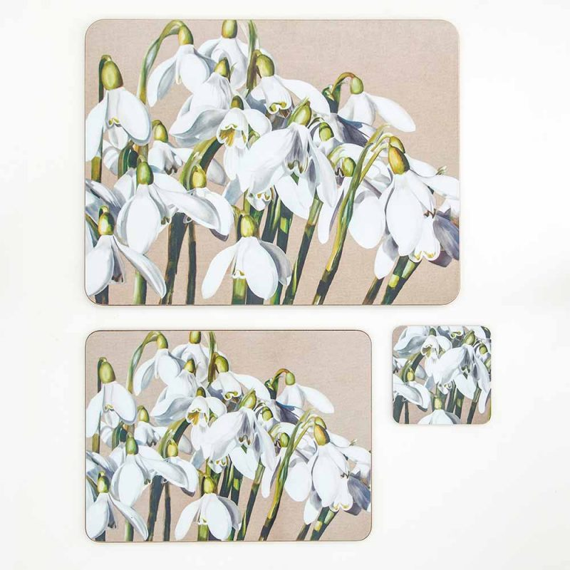 White and green snowdrops galanthus on linen painting by Sarah Caswell melamine tablemat and coaster range
