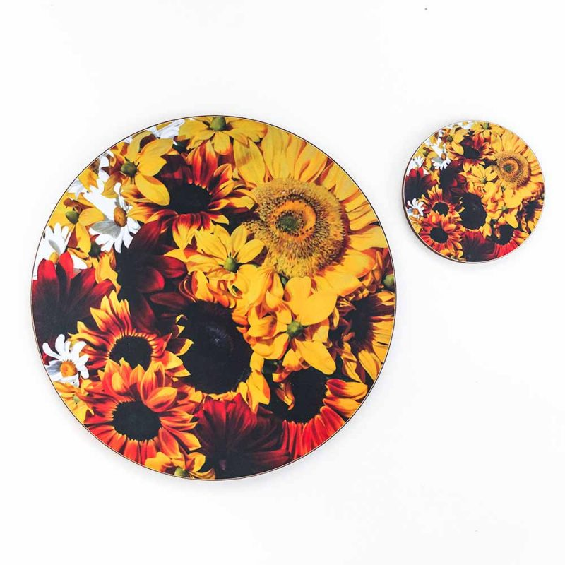 Yellow and toffee sunflowers painting by Sarah Caswell melamine tablemat and coaster range