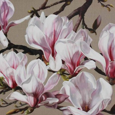 Pink and white magnolia on linen background painting by UK floral artist Sarah Caswell