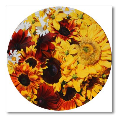 Multi-coloured sunflowers and rudbeckia and daisies on a round painting by Sarah Caswell