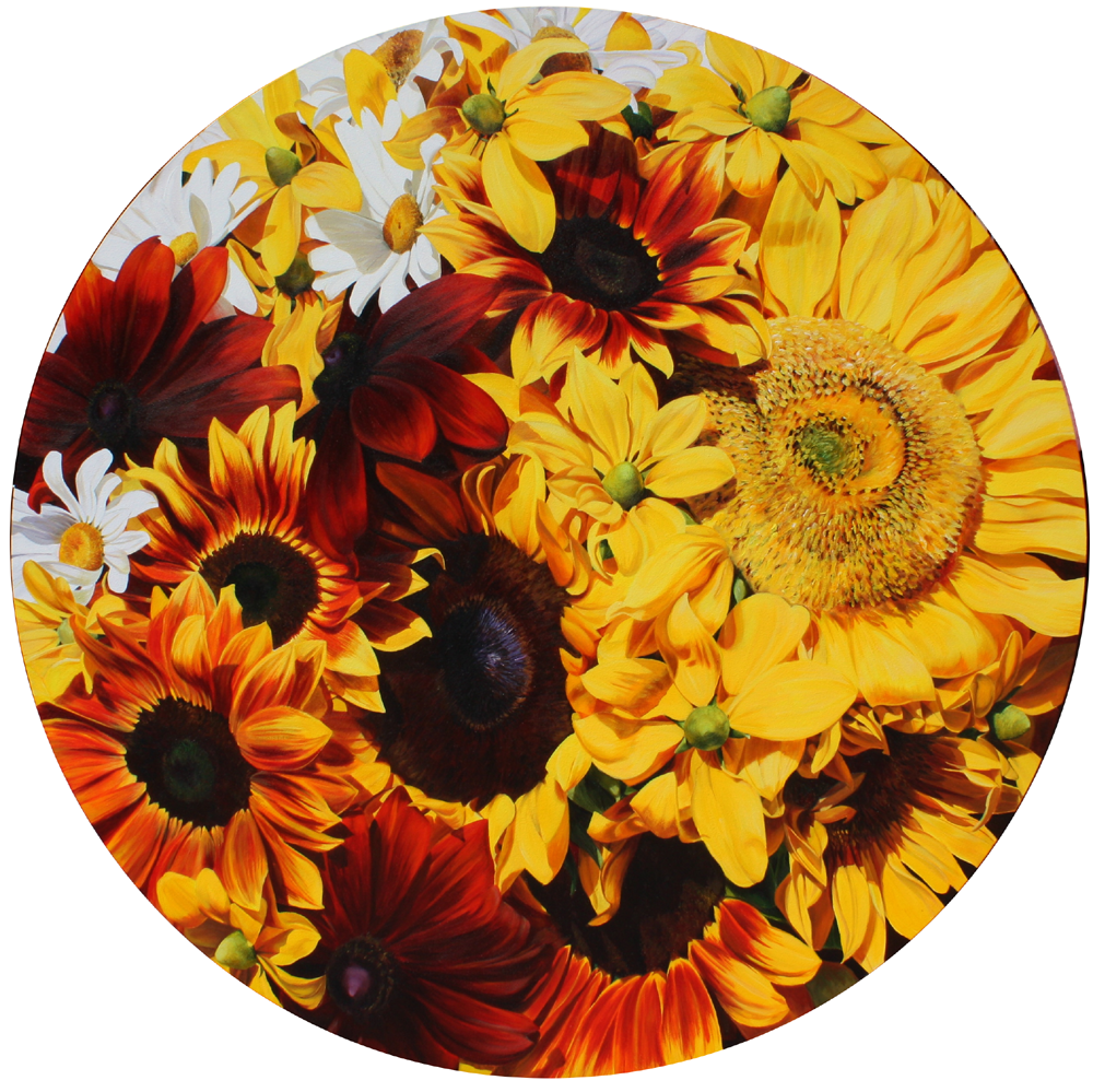 Yellow and toffee sunflowers painting by UK floral artist Sarah Caswell