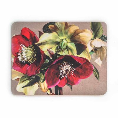 Burgundy and green hellebores on linen painting by Sarah Caswell melamine tablemat