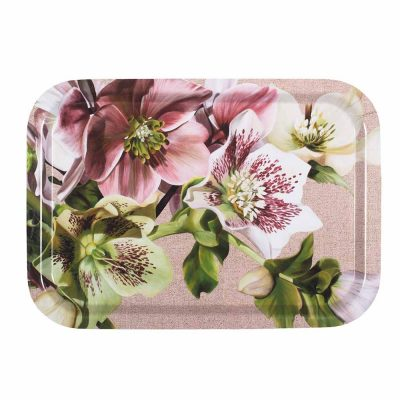 Pink, green and spotted white hellebores painting on linen by Sarah Caswell birchwood tray