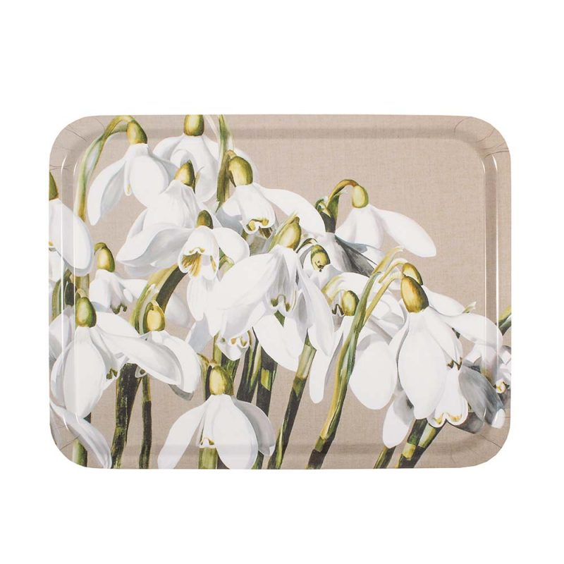 White and green snowdrop galanthus painting on linen by Sarah Caswell birchwood tray