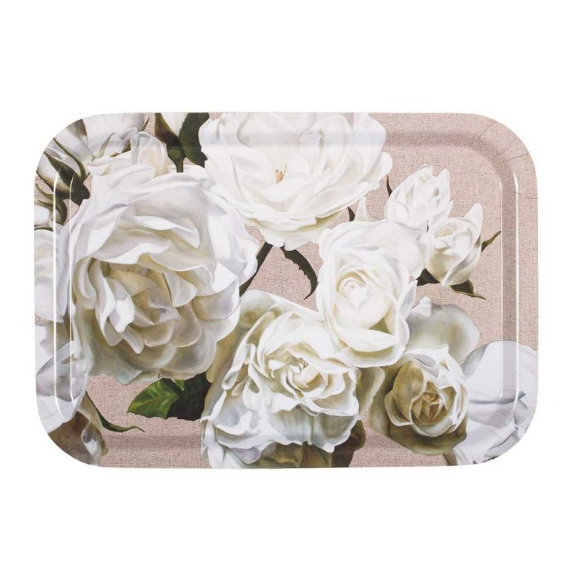 White Iceberg roses on linen painting by Sarah Caswell birchwood tray