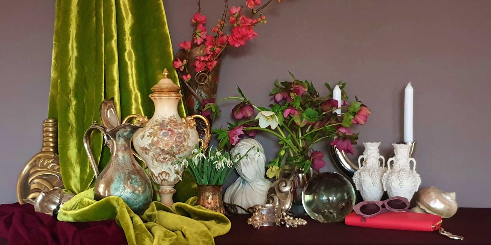 lime green silk velvet and treasured object which are inspiration to UK floral artist Sarah Caswell in a scene of baroque exuberant luxury and abundance