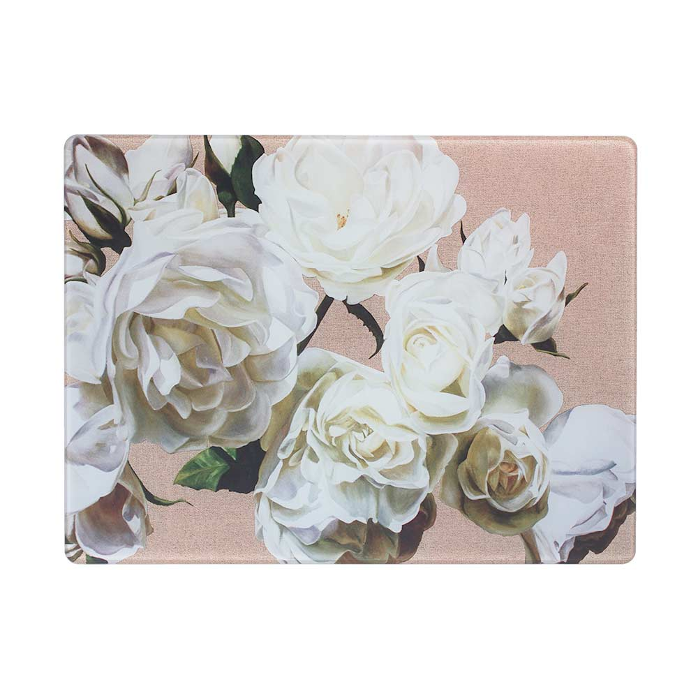 White Iceberg roses on linen painting by Sarah Caswell glass worktop saver