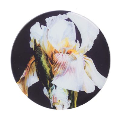White iris on deep purple background painting by Sarah Caswell round glass worktop saver or coaster